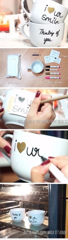 DIY Sharpie Mugs | Click Pic for 33 DIY Christmas Gift Ideas for Friends | DIY Christmas Gift for Women