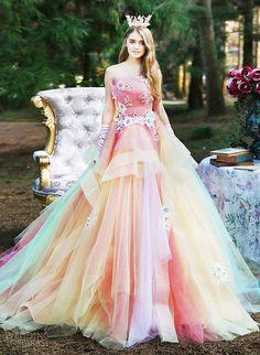 "inkxlenses: ""Romantic Spring Pastel Rainbow Wedding Gowns: Marchesa, Nicole, Joyful Eli, TIGLILY """