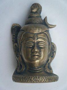 Brass Old Shiva, Hindu God Antique Original Collectible Statue Figure #877