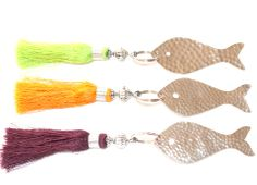Key fob with silk tassel  and hammered metal fish
