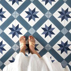 "- Modern Interior Designs - Gerflor Texline Cordoba Blue"" PVC roll imitation blue and white cement tiles"