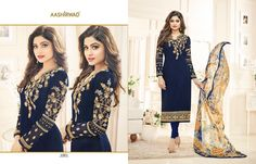 Shamita Aashirwad Creation EMBROIDERED INDIAN WOMEN TRADITIONAL FASHION OCCASIONALLY FESTIVE LOOK BRANDED STRAIGHT SALWAR SUIT جورجيت البدلة FULL CATALOG SUPPLIER FROM SURAT IN BEST WHOLESALE PRICE