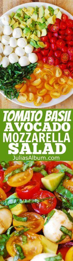 Tomato Basil Avocado Mozzarella Salad with Balsamic Dressing - #Mediterranean #Italian #Healthy #recipe