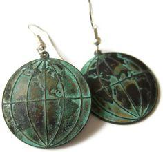 Verdigris Globe Earrings