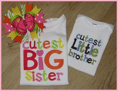Sibling SET Cutest Big Sister and Cutest by SouthernBelleBows, $45.00