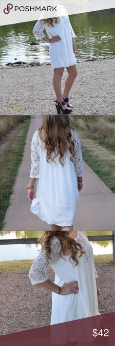 White lace dress Super cute white dress with gorgeous lace sleeves (size Small) ! Sleeves are about 3/4 length! Dress is short with a lace overlay on the bottom! Will come with under dress (no extra cost!) pair it with your favorite heels and jewelry and you for the perfect outfit! Bought from böhme! I accept offers💕 Dresses Mini