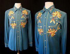 Killer 1940's H Bar C blue gabardine embroidered by wearitagain, $250.00