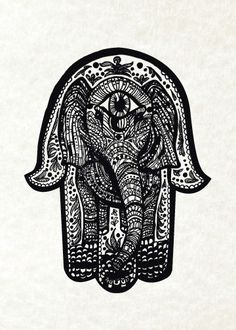Elephant Hamsa Print from Original Pen and Ink by Cat Dolch on Etsy, £9.16