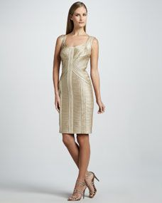 Sleeveless Cocktail Dress with Allover Pintucking