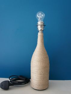 Upcycled rope bottle lamp base