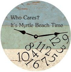 Beach Wall Clock with Quote. On Beach Time Wall Clock Featured on Beach Bliss Designs: Beach Cottage Style, Beach House Decor, Coastal Style, Coastal Decor, Rustic Decor, Coastal Entryway, Boho Decor, Beach Room Decor, Coastal Rugs