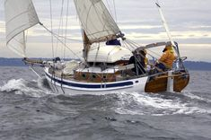 """""""Taleisin"""", designed for and built by Lin and Larry Pardey, design by Lyle C. Hess, LOD 29' 6""""."""