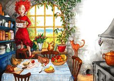 """Allie in the kitchen, with a view from the window. This is part of a children's picture book called """"Allie and the Dragon"""" which is illustrated and written by Ida Öhnell."""