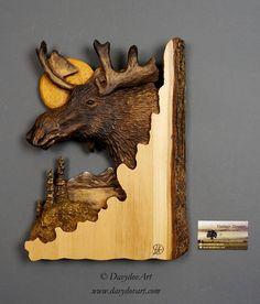 Cadeau unique en Bois Sculpture d'Orignal sur Bois Deco