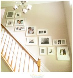Learn how to design, plan and hang your own staircase gallery wall! I'm walking you through my thought process from start to finish complete with photos. Stairway Photos, Gallery Wall Staircase, Staircase Wall Decor, Stair Gallery, Gallery Wall Frames, Stairway Photo Gallery, Gallery Walls, Staircase Design, Stair Photo Walls