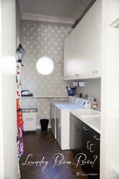 Laundry Room Reveal - $100 Room Challenge - Flamingo Deco Wall Stencil - Royal Design Studio