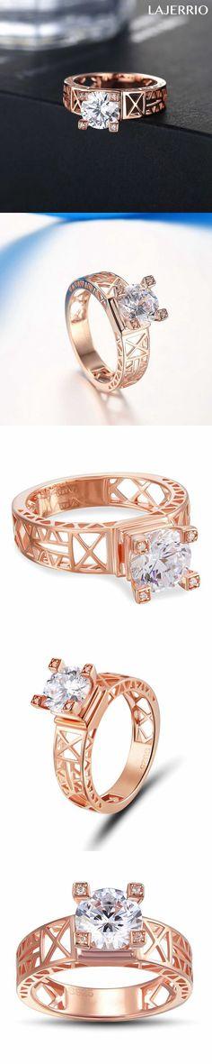Lajerrio Jewelry Eiffel Tower Round Cut White Sapphire S925 Ring