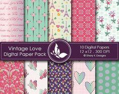 40% off Vintage Love Paper Pack - 20 Printable Digital papers - 12 x12 - 300 DPI