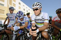 World champion Philippe Gilbert (BMC) awaits the start of stage 1.