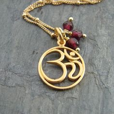 Enlightened Truth - Om Garnet Vermeil Necklace Love Harmony - $82.00 : Yoga Jewelry, Om Necklace, Tree of Life Jewelry, Chakra Jewelry, Buddhist Jewelry, Buddha Necklace, Lotus Jewelry, Inspirational and Yoga Inspired Jewelry, Yoga Jewelry of Simple Beauty, Jewelry gifts with meaning