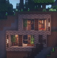 Modern Hill-side House - Explore the best and the special ideas about Minecraft Houses Villa Minecraft, Minecraft Mods, Plans Minecraft, Architecture Minecraft, Modern Minecraft Houses, Minecraft Interior Design, Minecraft Houses Blueprints, Amazing Minecraft, Minecraft House Designs