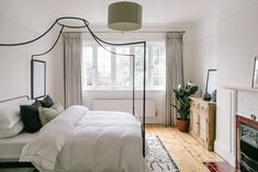 Beaumont Four Poster Bed From The White Company - Calming Bedroom In A Characterful Edwardian Semi Detached Property Edwardian House, 1930s House, Victorian Bedroom, Dream Bedroom, Home Decor Bedroom, Bedroom Ideas, Bedroom Built In Wardrobe, Four Poster Bed, The White Company