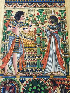 Vintage Hand Painted Egyptian Papyrus,King Tut and Queen Ankhesenamun,17 X 13 inch  - 43 X 33 cm