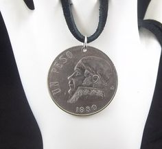 Mexican Coin Necklace 1 Peso Coin Pendant by AutumnWindsJewelry