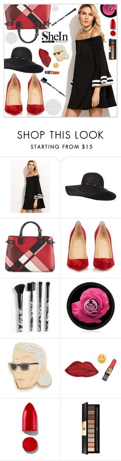 """""""vel"""" by annisadiwya ❤ liked on Polyvore featuring Burberry, Christian Louboutin, Torrid, Georgia Perry, Decree, Rodin, Yves Saint Laurent and shein"""