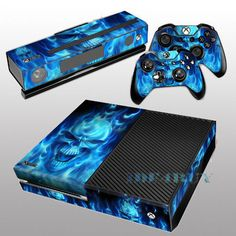Details about for X box One Console Kinect 2 free Controller Covers Blue Skull…