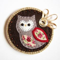 Owl Brooch- would be cute as a Christmas ornament