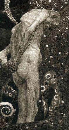 Gustav Klimt, Jurisprudence, detail, – Keep up with the times. Gustav Klimt, Klimt Art, Alphonse Mucha, Artist Art, Les Oeuvres, New Art, Art History, Modern Art, Illustration Art
