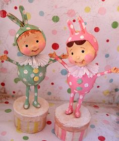 *PAPER CLAY ~ bunny Kids by thepolkadotpixie, via Flickr