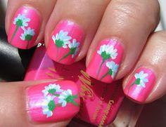 Pastel blue flowers on neon pink - nails  #nail #nails #nailart