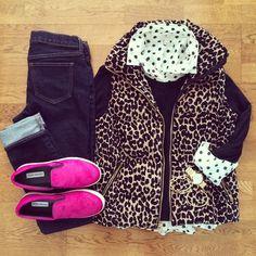 Polka Dot Shirt, Leopard Vest, Pink Sneakers | #weekendwear #casualstyle #liketkit | www.liketk.it/XGnC | IG: @whitecoatwardrobe