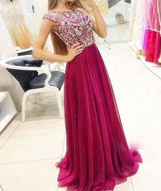prom dresses,New Arrival a-line round neck chiffon sequin burgundy long prom dresses, formal dresses