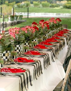 Courtly Check tablescape idea for race day.