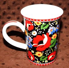 Vera Bradley Poppy Fields Coffee Tea Cup Mug GUC Barnes & Noble Flowers Dots