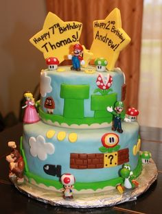 """I know a couple """"adult kids"""" that would love this birthday cake!!! - Mario video game cake"""