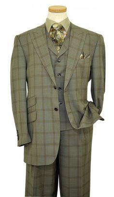 Steven Land Siege Green / Tan / Blue Plaid Design Super 150\'s Wool Suit SL1206