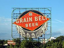 The landmark Grain Belt Beer sign on Nicollet Island in Minneapolis
