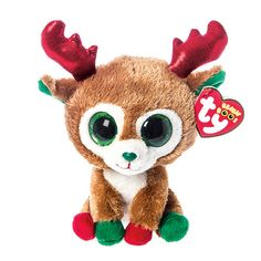 ce371f701c11f Alpine the Reindeer is a plush brown reindeer with red antlers and big  green glittery eyes