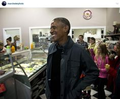 From Marc Lester Photo Instagram - Executive gelato stop in Seward, Alaska for President Barack Obama, 1 September 2015