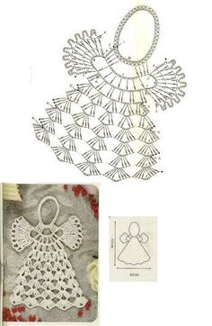 As Receitas de Crochê: Gráficos de anjos de croch crochetelements - Her Crochet Crochet Snowflake Pattern, Christmas Crochet Patterns, Holiday Crochet, Crochet Snowflakes, Crochet Motif, Crochet Designs, Crochet Angels, Crochet Cross, Thread Crochet