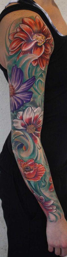 Amazing Floral Sleeve Tattoo