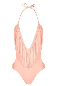 Affordable and cute swimwear for summer— Boohoo fringe one piece swimsuit