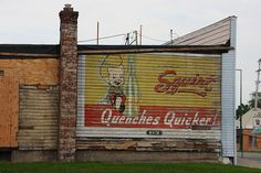 Vintage Squirt soda pop ad / mural.  Likely from the 1940's - 1950's
