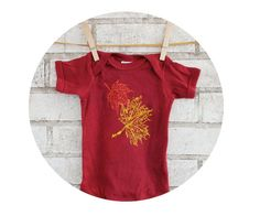 Fall Baby Onepiece Falling Leaves Burgundy Red by CausticThreads