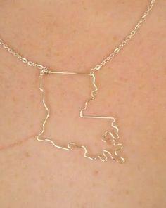 Louisiana State Necklace. $35.00, via Etsy.
