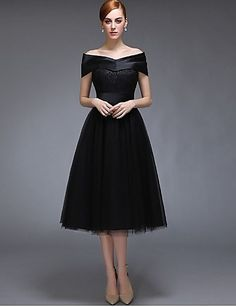 Tea-length Satin / Tulle Bridesmaid Dress - Black A-line Off-the-shoulder 4818360 2016 – $69.99